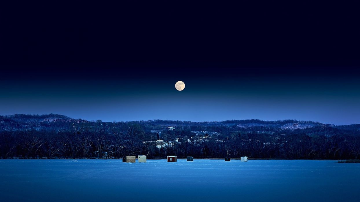 river trees Winter Mountain Night Nature snow moon fishing wallpaper