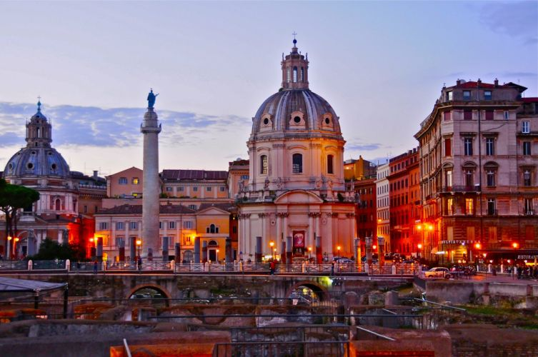 Rome Italy Rome Italy night sunset buildings houses churches column monument architecture ruins light city wallpaper