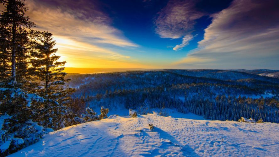 Sunrise sun sky clouds winter snow trees forest nature landscape hills wallpaper