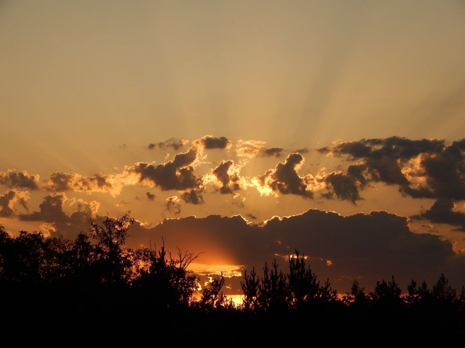 sunset dawn clouds rays wallpaper