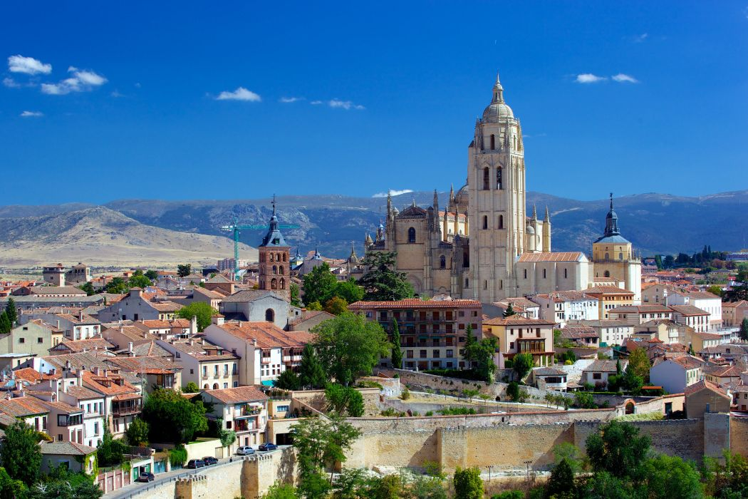Spain Houses Temples Segovia Cathedral Cities wallpaper