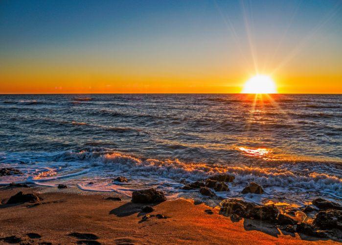 sunset sea rocks waves landscape r wallpaper
