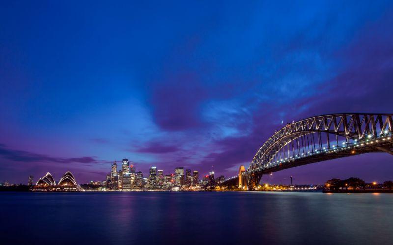 Sydney Australia Harbour Bridge the Bay of Port Jackson night city wallpaper
