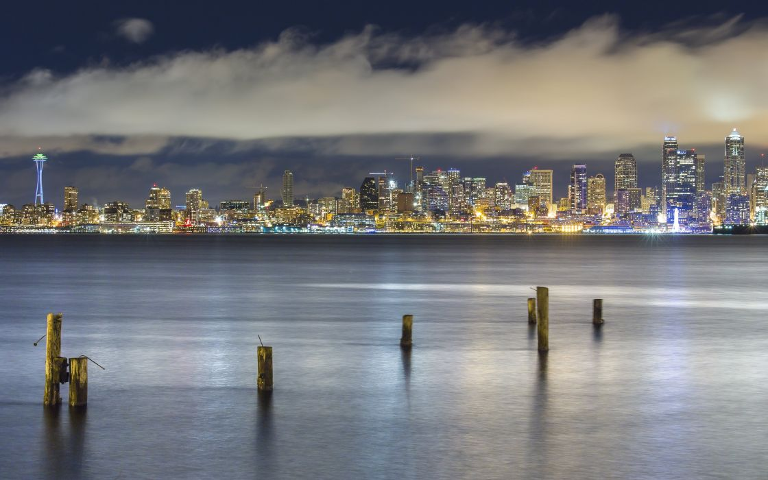 Seattle Washington Puget Sound night city wallpaper