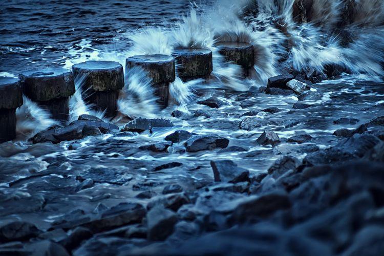 Sheyang harbor surf rocks beach waves wallpaper