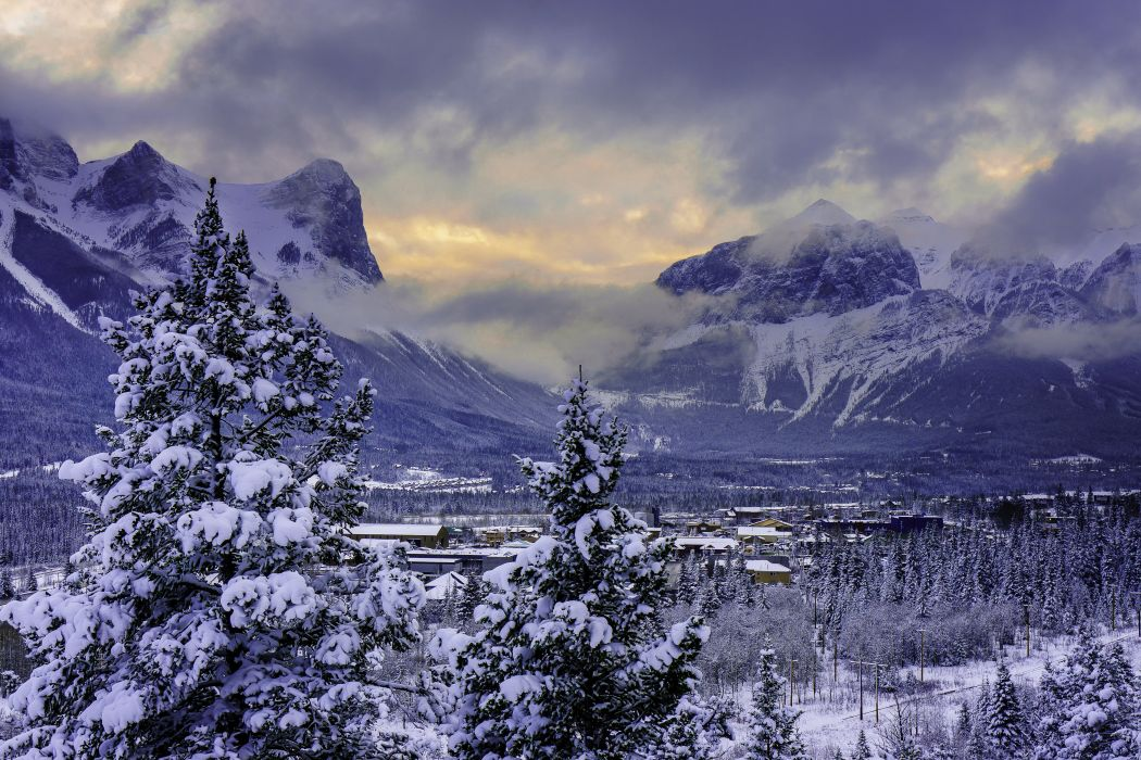 sunset mountains winter trees houses Canmore Alberta wallpaper