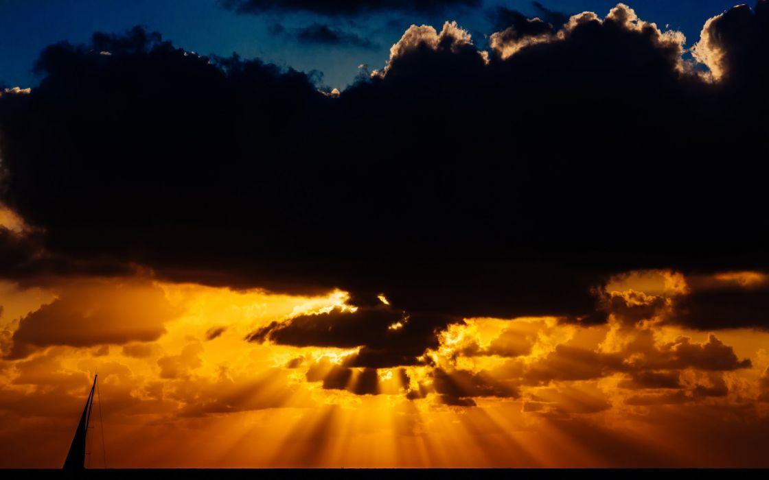 Sky clouds sun evening sunset sun horizon sailing boat landscape beauty nature wallpaper