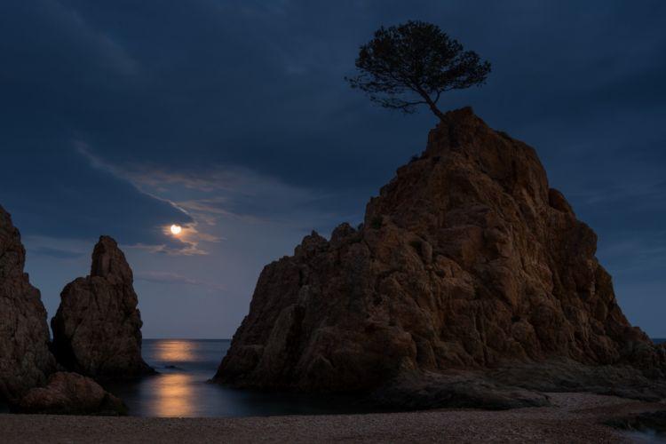 Tossa de Mar Costa Brava Spain Spain night moon moonlight rocks sea beach tree landscape nature wallpaper