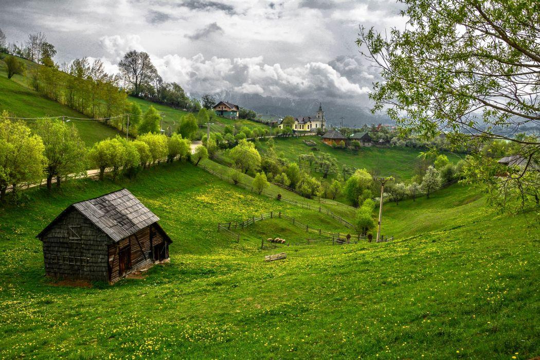 Transylvania Draculas castle road field hills house castle trees landscape wallpaper