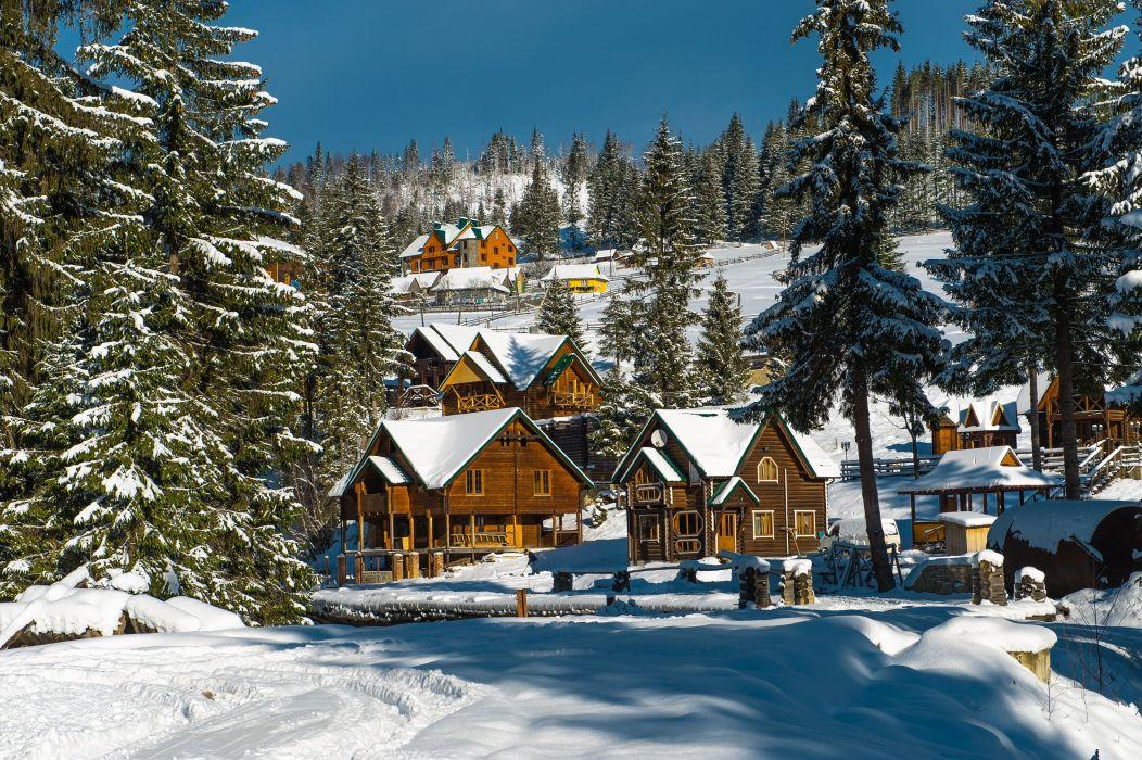 Ukraine Houses Seasons Winter Fir Snow Cities Nature wallpaper