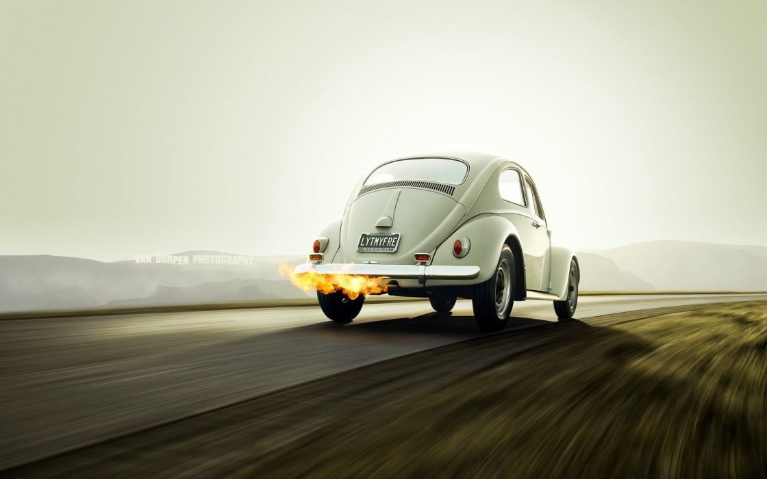 Volkswagen Beetle rear fire classic socal tuning wallpaper