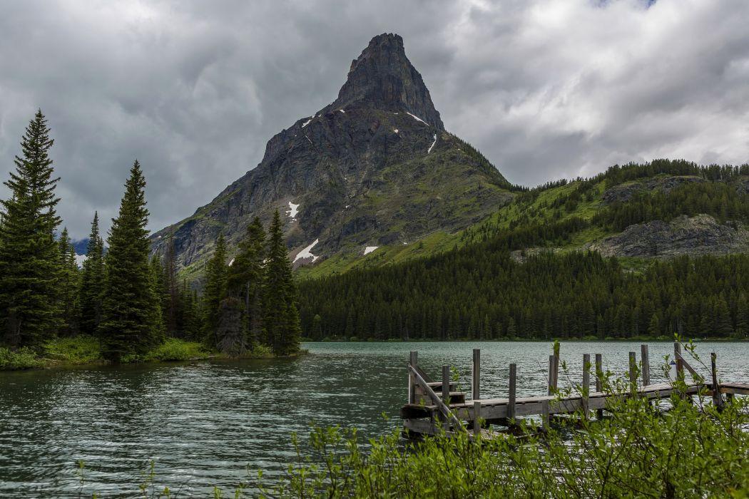 USA Parks Rivers Mountains Glacier Montana Fir Nature wallpaper