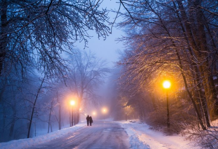 winter night road mood lamp post wallpaper