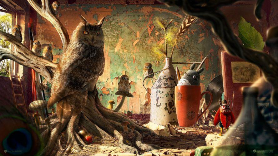 Birds Owls Animals owl artwork painting fantasy wallpaper