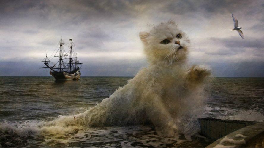 Cats Waves Creative Fantasy Animals artwork painting photoshop ocean sea digital art wallpaper
