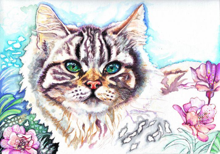 Cats Painting Art Snout Glance Animals artwork wallpaper
