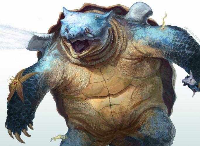 Turtles Painting Art Ancient animals turtle artwork painting wallpaper
