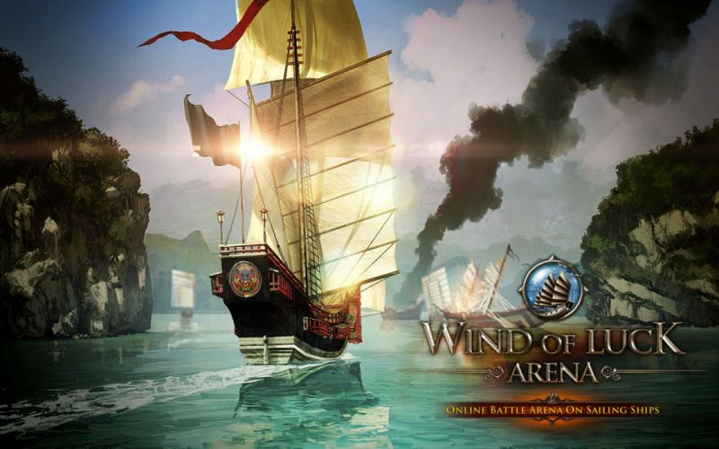 WIND Of LUCK arena mmo online fantasy ship boat fighting 1wol galleon warship navy military battle poster wallpaper