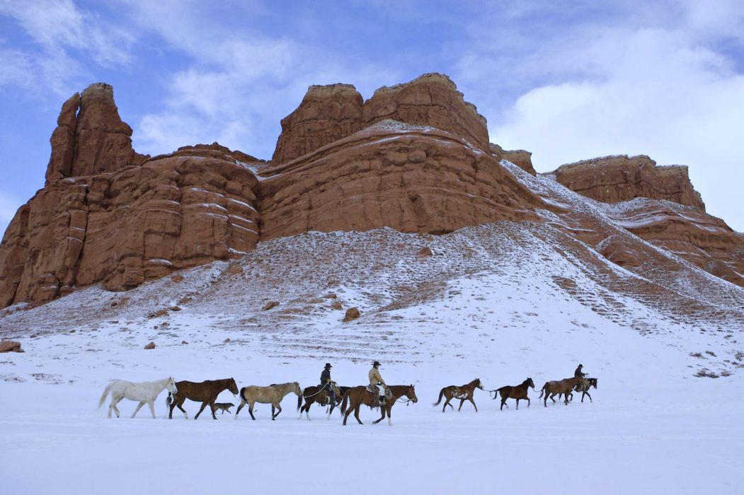 wild horses Cowboys snow rocks Mountains landscape winter usa wallpaper