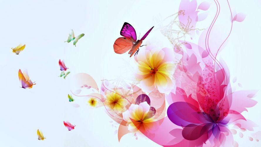 Beauty - Butterflies - Magical - wallpapers - flowers wallpaper