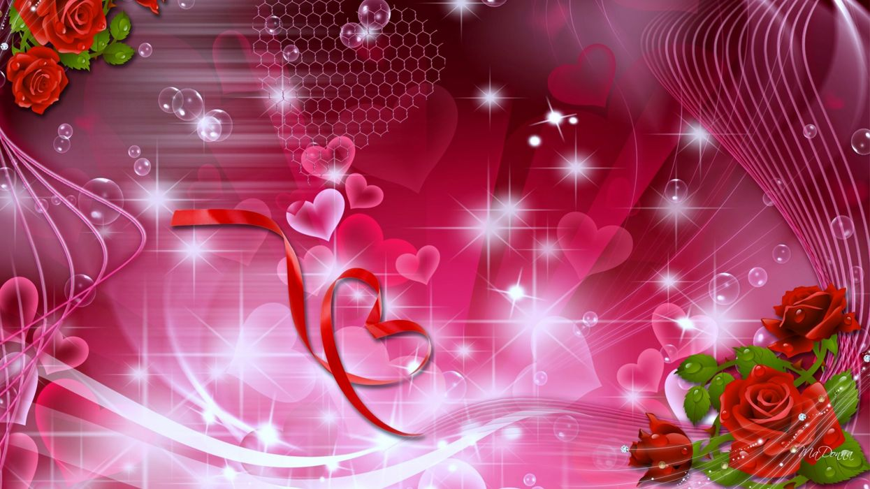 flowers roses hearts stars love gift magical wallpapers romantice wallpaper