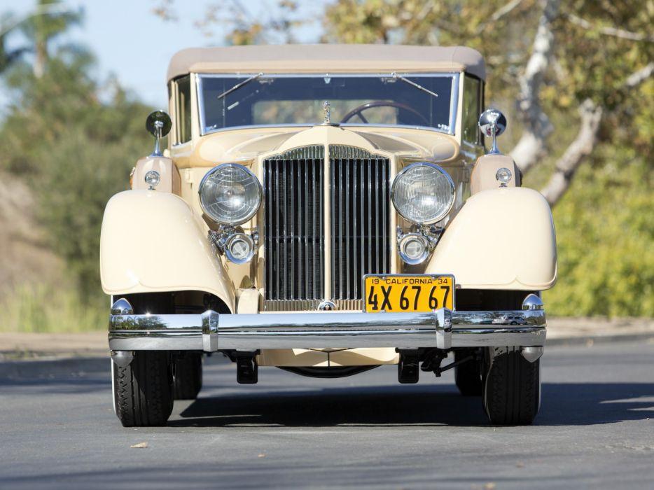 1934 Packard Twelve Convertible Sedan 1107-743 luxury retro vintage wallpaper