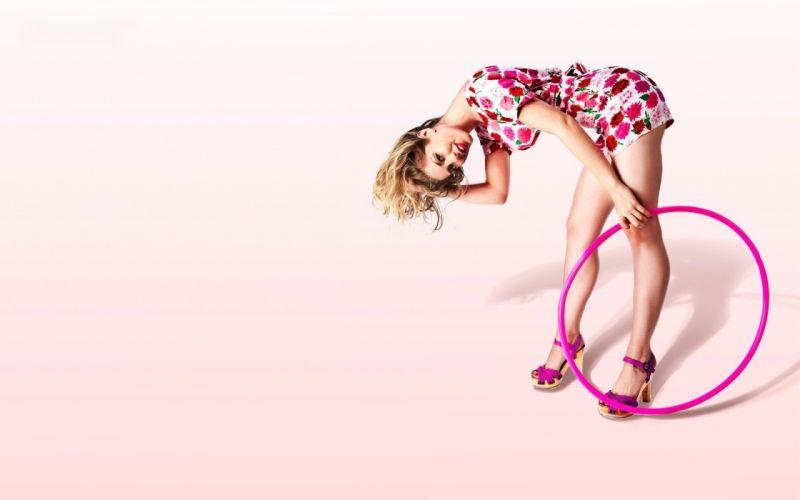 SENSUALITY - girl blonde pink hoop wallpaper