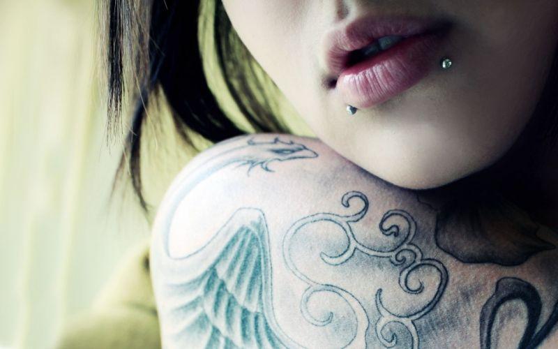 TATTOO - sensuality girl brunette tattoo piercing face lips wallpaper