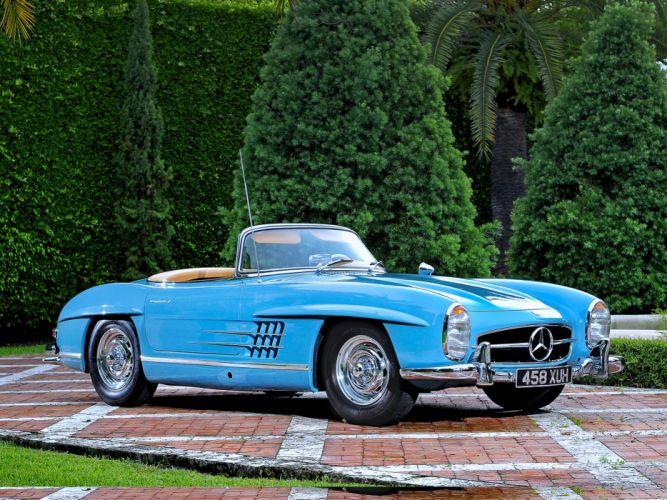1957 mercedes-benz 300-sl blue old motors trees classic wallpaper