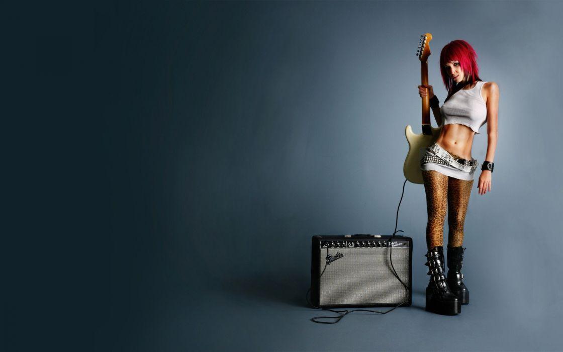 SENSUALITY - girl guitar amplifier red hair heeled wallpaper