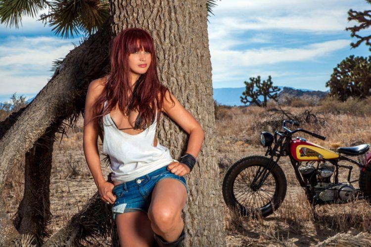 SENSUALITY - girl redhead short jeans tree motorcycle wallpaper
