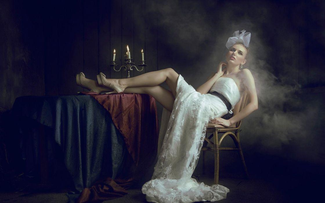 SENSUALITY - white dress girl candles smoke wallpaper