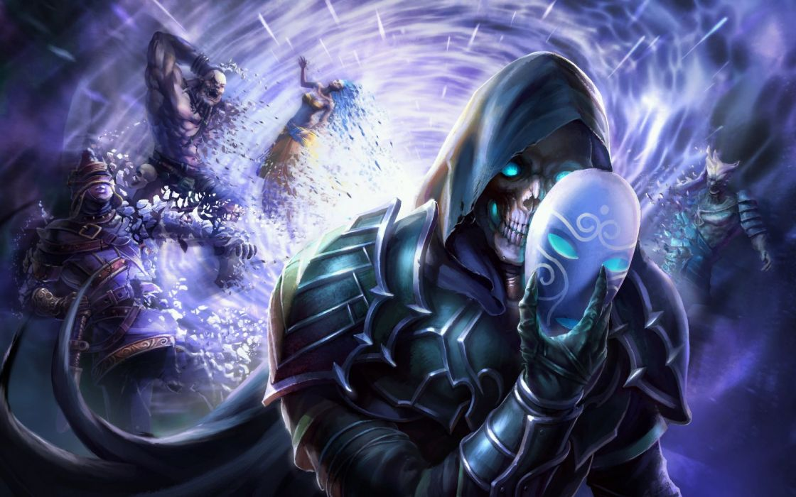 HEROES MIGHT MAGIC strategy fantasy fighting adventure action online 1hmm mask skull monster reaper wallpaper