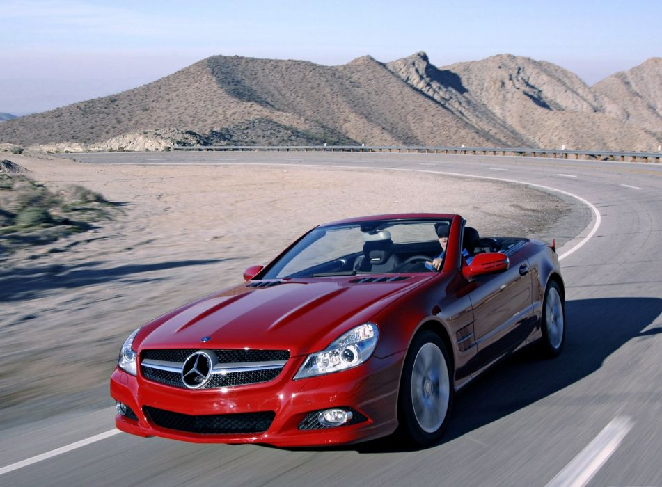 mashiny doroga krasnyy-sl Mercedes red cars road desert speed motors roof wallpaper