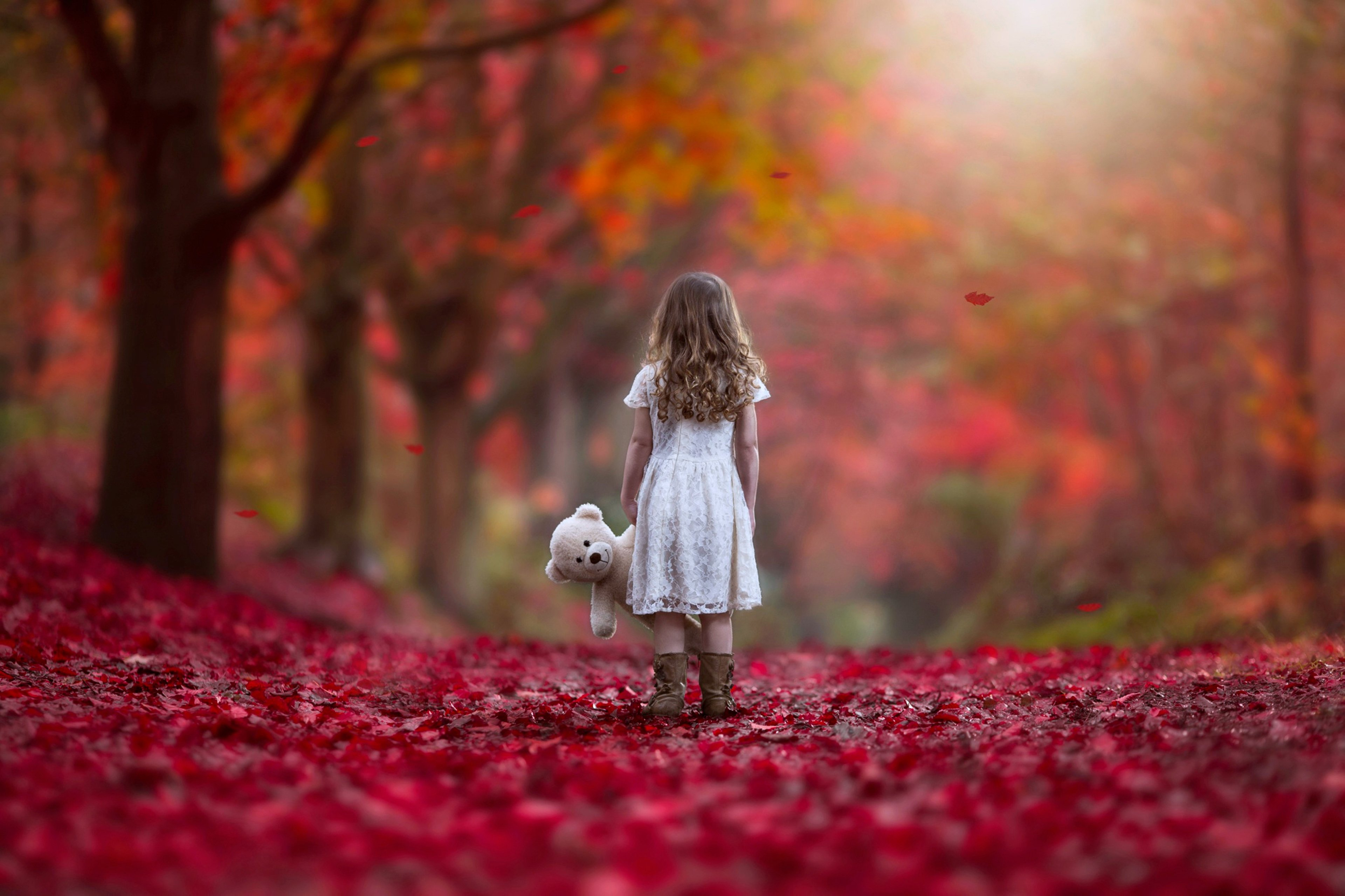 Autumn Littel girl forest sad lonely alone red nature Princess Doll way kids child wallpaper | 3840x2559 | 622518 | WallpaperUP