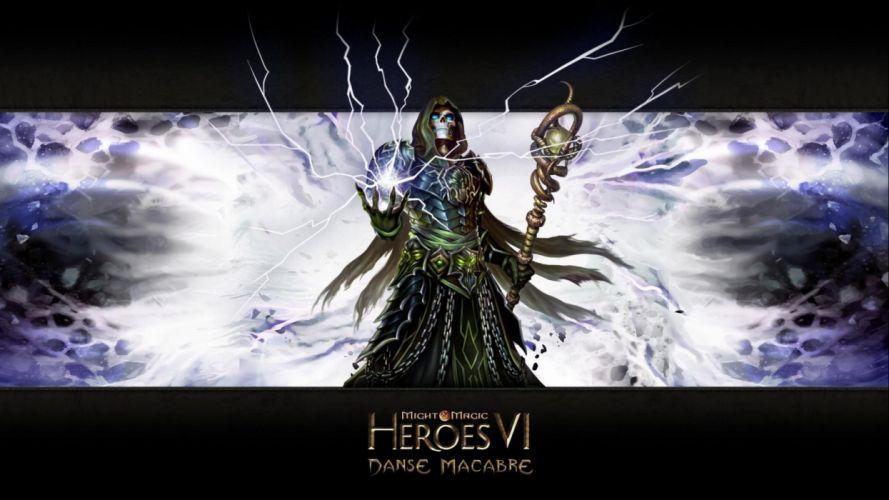 HEROES MIGHT MAGIC strategy fantasy fighting adventure action online 1hmm poster warrior magic dark skull wallpaper