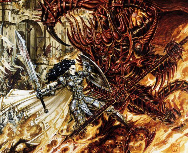 HEROES MIGHT MAGIC strategy fantasy fighting adventure action online 1hmm warrior demon monster battle dark wallpaper