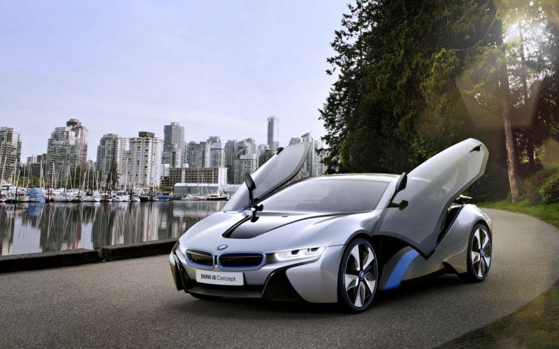 BMW i8 concept cars speed motors race road Port wallpaper