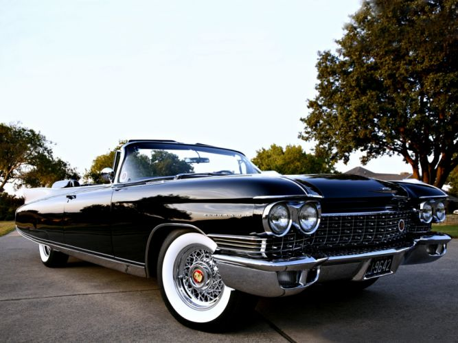 Cadillac Eldorado Convertible black road classic old motors roof cars wallpaper