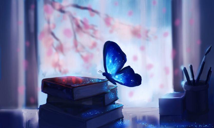 art butterfly books tree Drawing fantasy wallpaper