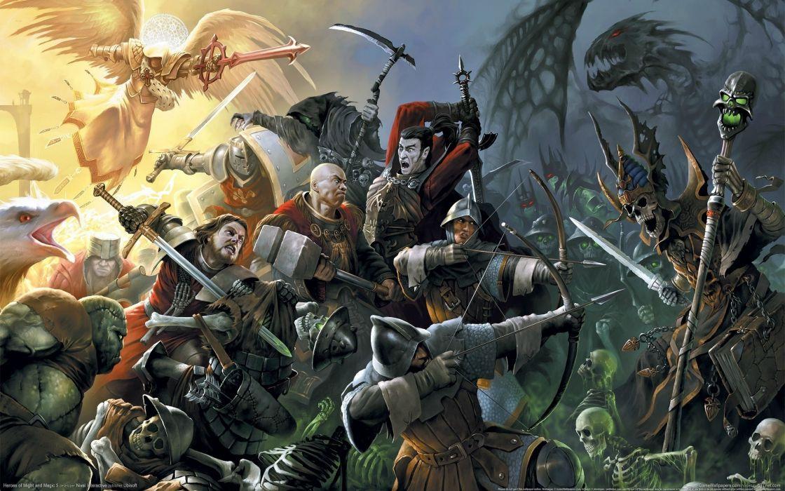 HEROES MIGHT MAGIC strategy fantasy fighting adventure action online 1hmm warrior battle dark evil good skull wallpaper