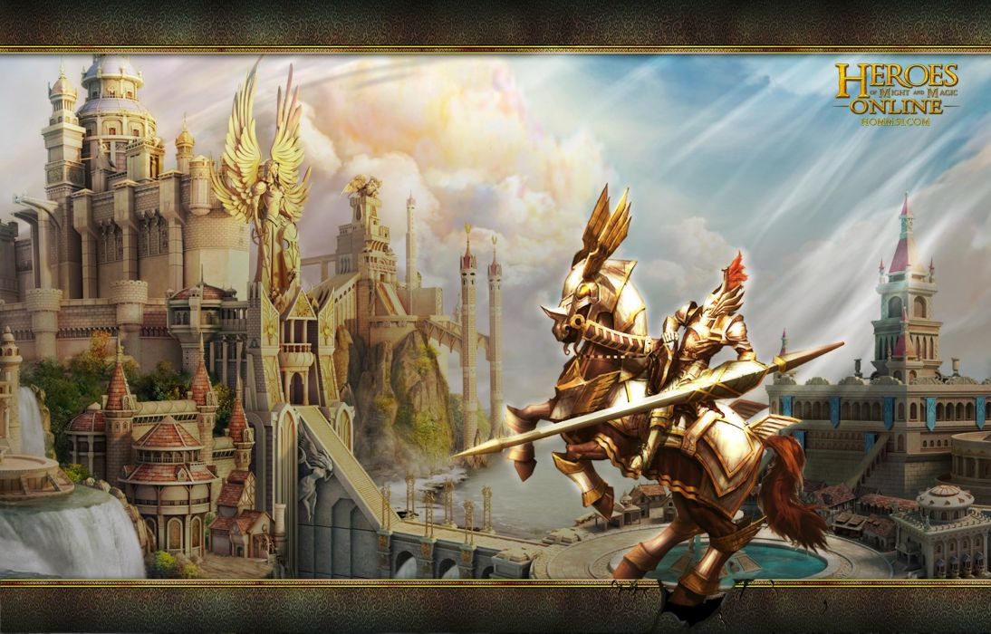 HEROES MIGHT MAGIC strategy fantasy fighting adventure action online 1hmm warrior horse castle sword wallpaper