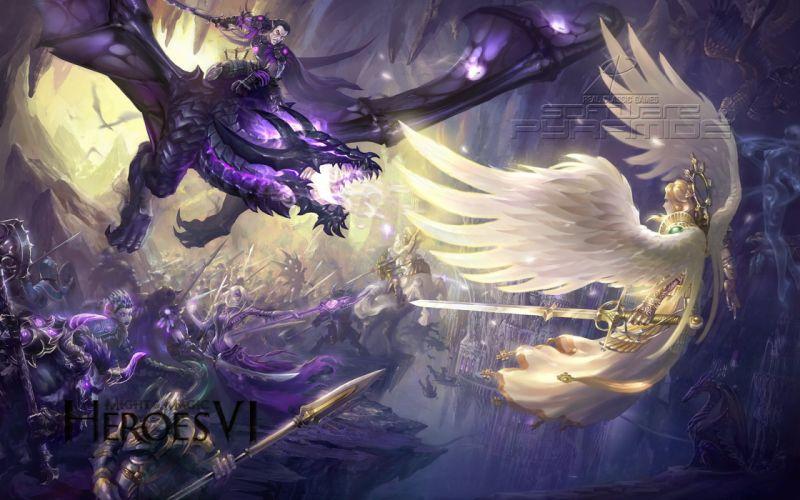 HEROES MIGHT MAGIC strategy fantasy fighting adventure action online 1hmm warrior battle angel dragon wallpaper