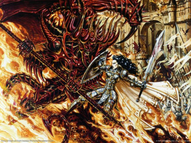 HEROES MIGHT MAGIC strategy fantasy fighting adventure action online 1hmm demon dark skull monster warrior girl wallpaper