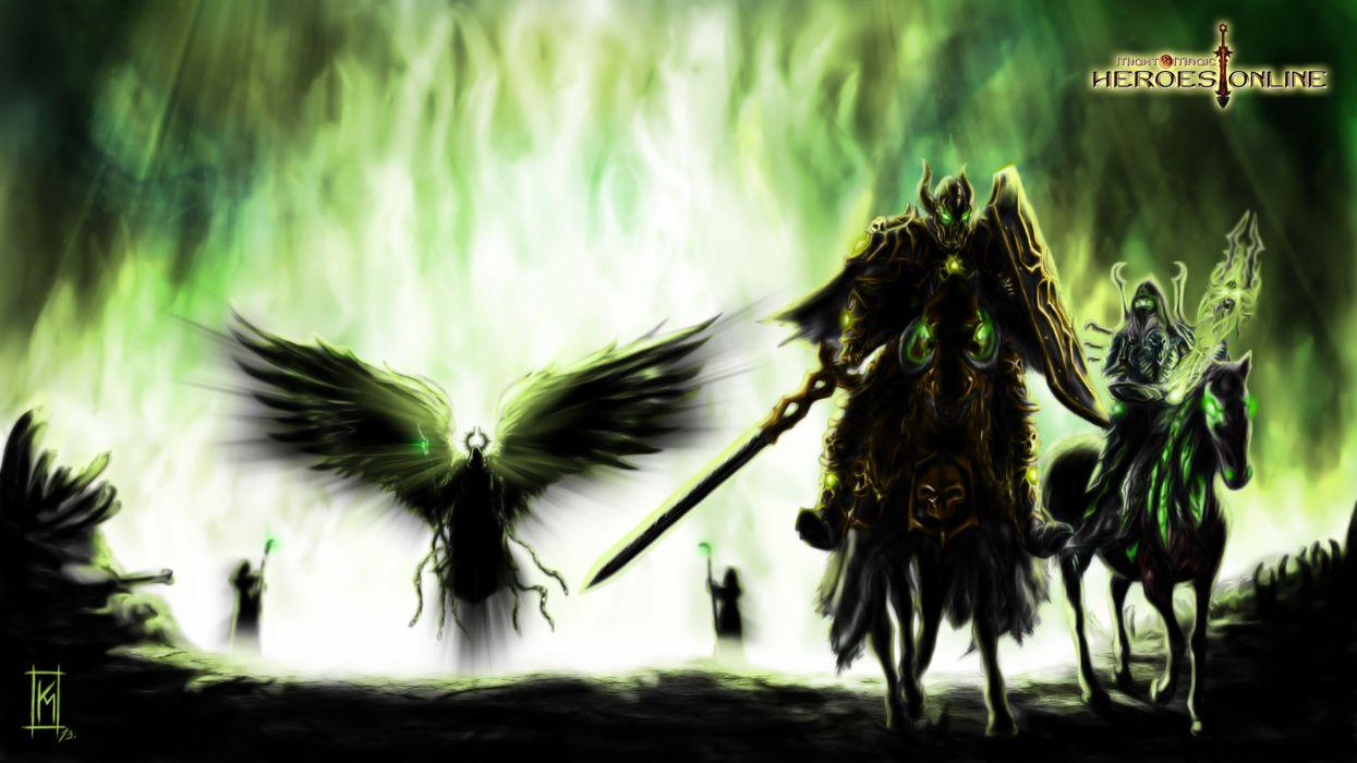 HEROES MIGHT MAGIC strategy fantasy fighting adventure action online 1hmm warrior dark armor demon angel wallpaper