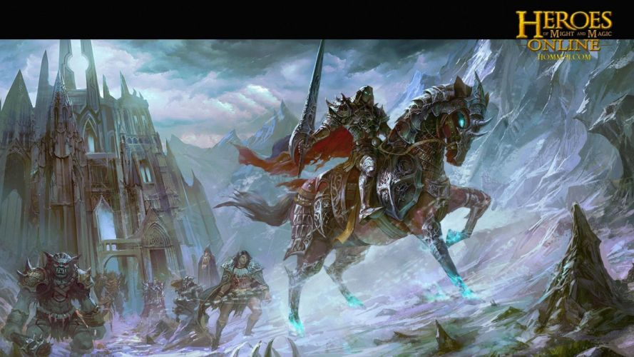 HEROES MIGHT MAGIC strategy fantasy fighting adventure action online 1hmm poster warrior knight armor horse sword castle wallpaper