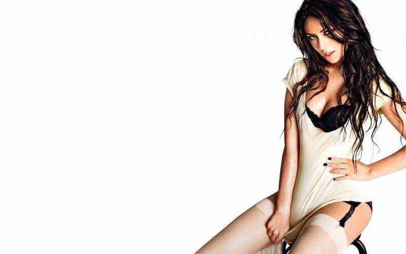 SENSUALITY - girl brunette stockings shirt wallpaper