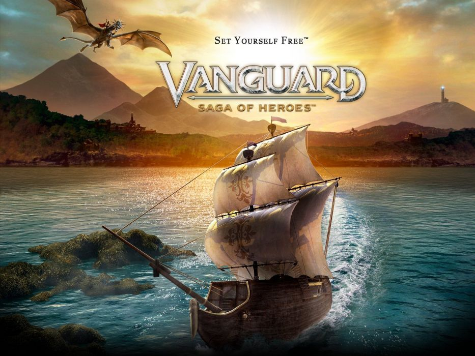 VANGUARD SAGA HEROES fantasy mmo rpg fighting online 1vsh action adventure poster ship ocean wallpaper