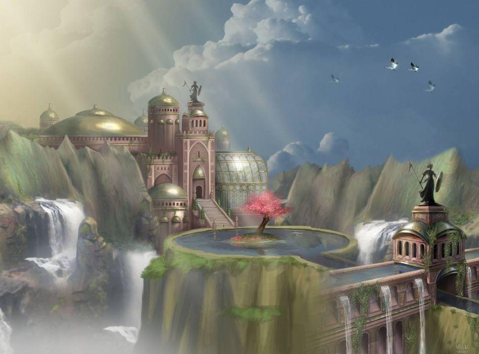 VANGUARD SAGA HEROES fantasy mmo rpg fighting online 1vsh action adventure city castle waterfall wallpaper
