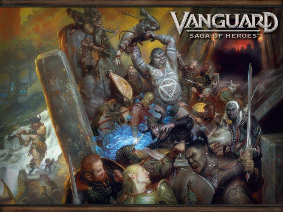 VANGUARD SAGA HEROES fantasy mmo rpg fighting online 1vsh action adventure poster warrior battle wallpaper